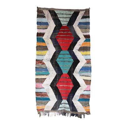 Kilim Boucherouite Vintage Moroccan Hand Knotted Wool Red/Green Area Rug