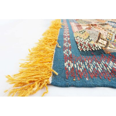 Aknif Moroccan Hand Knotted Wool Yellow/Navy Area Rug
