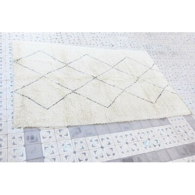 Beni Ourain Moroccan Hand Knotted Wool Cream/Black Area Rug Rug Size: 66 x 102