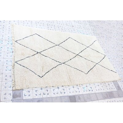 Beni Ourain Moroccan Hand Knotted Wool Cream/Black Area Rug Rug Size: 65 x 103