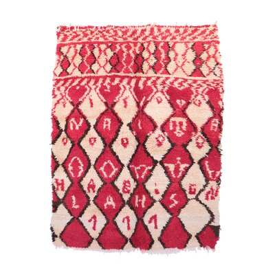 Azilal Vintage Moroccan Hand Woven Wool Pink Area Rug