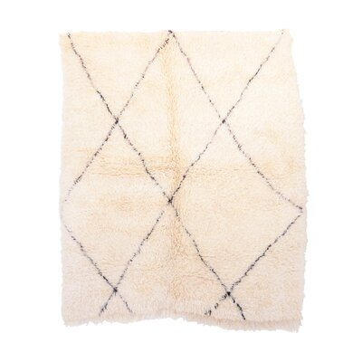 Beni Ourain Vintage Moroccan Hand Woven Wool Ivory Area Rug Rug Size: Rectangle 55 x 65