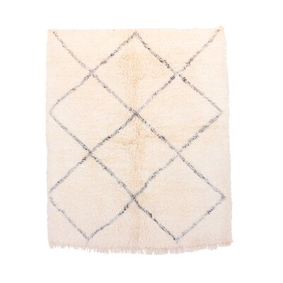 Beni Ourain Vintage Moroccan Hand Woven Wool Ivory Area Rug Rug Size: Rectangle 51 x 59