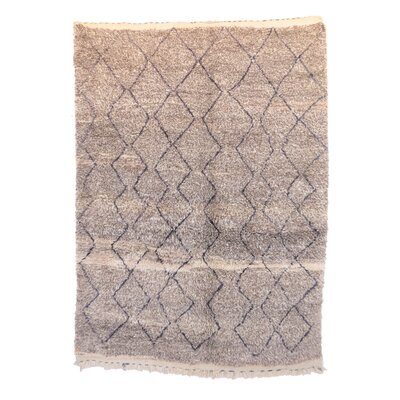 Beni Ourain Vintage Moroccan Hand Woven Wool Gray Area Rug