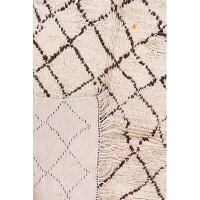 Azilal Vintage Moroccan Hand Woven Wool Ivory Area Rug