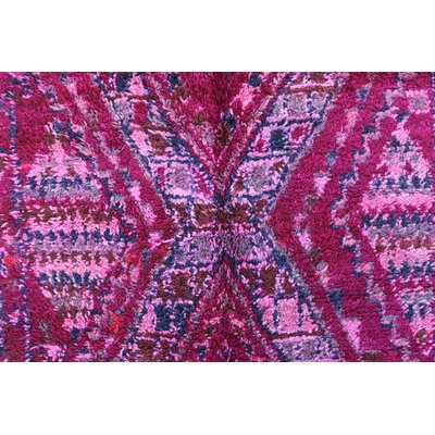 Beni MGuild Vintage Moroccan Hand Woven Wool Pink Area Rug