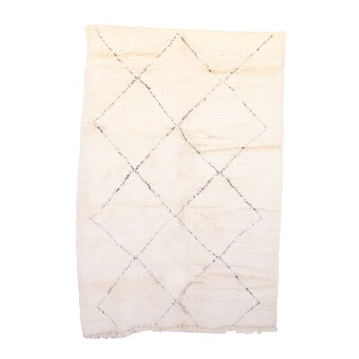 Beni Ourain Vintage Moroccan Hand Woven Wool Ivory Area Rug Rug Size: Rectangle 69 x 98