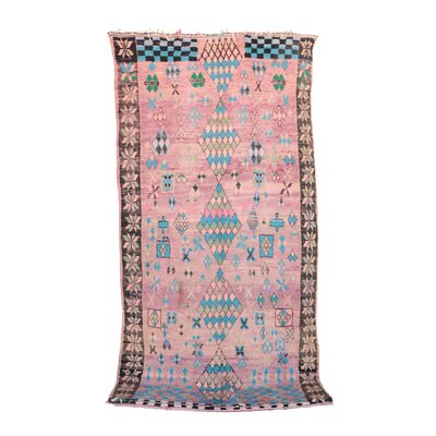 Boujad Vintage Moroccan Hand Woven Wool Pink Area Rug