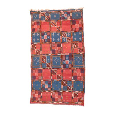 Taznakth Vintage Moroccan Hand-Knotted Wool Red/Blue Area Rug