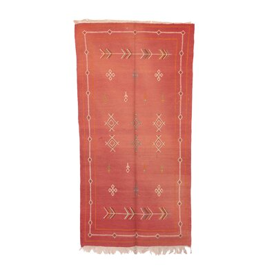 Aknif Moroccan Hand-Woven Wool Red Area Rug