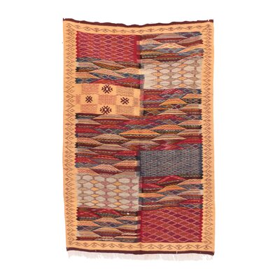 Aknif Moroccan Hand-Woven Wool Orange Area Rug