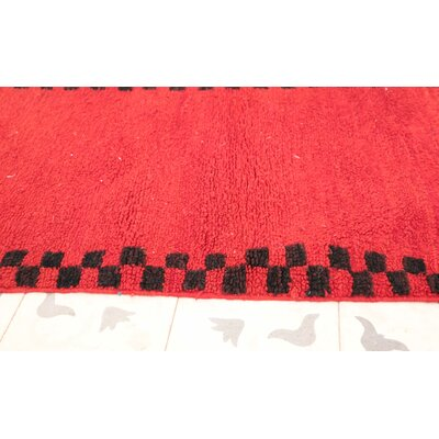 Boujad Vintage Moroccan Hand-Knotted Wool Red Area Rug