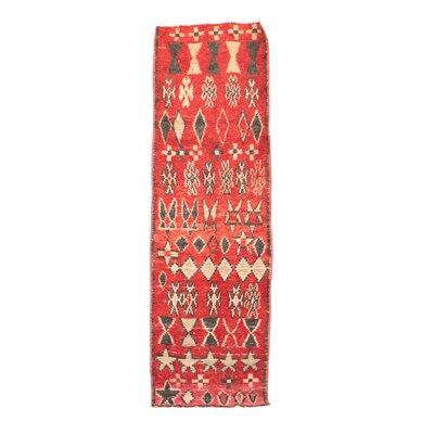 Boucherouite Vintage Moroccan Hand-Woven Wool Red Area Rug
