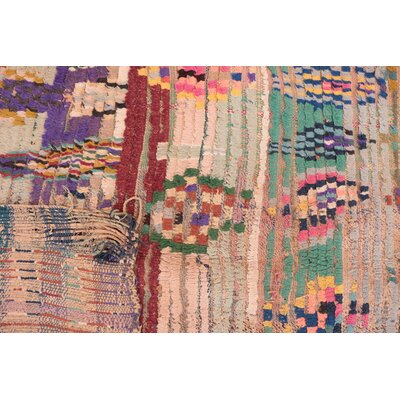 Boucherouite Vintage Moroccan Hand-Knotted Red/Green Area Rug