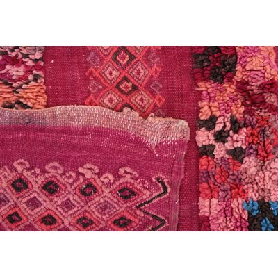 Beni MGuild Vintage Moroccan Hand-Knotted Wool Pink Area Rug