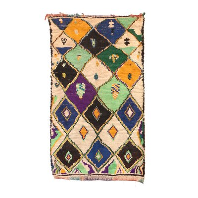 Boujad Vintage Moroccan Hand-Knotted Wool Green Area Rug