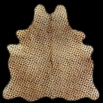 Foley Two Tone Leopard Stencil Cowhide Beige Area Rug