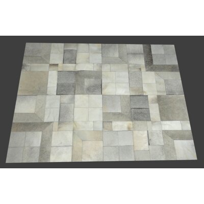 Fabian Handmade Cowhide Gray/Natural Area Rug