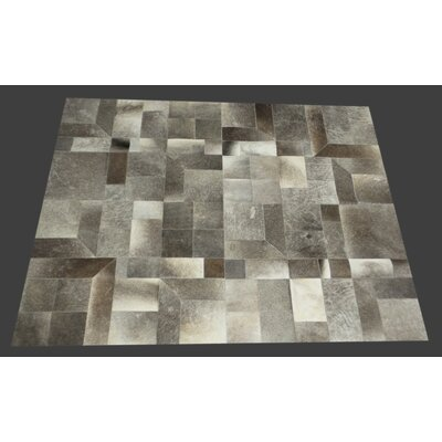 Fabian Handmade Cowhide Dark Gray/Natural Area Rug