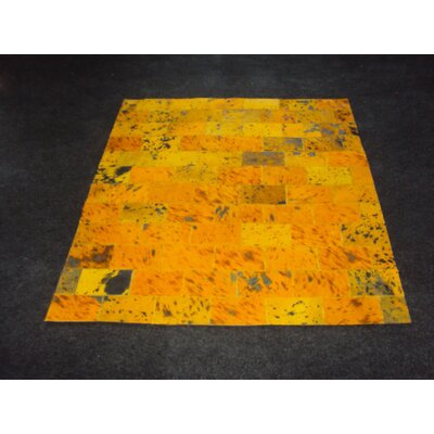 Patchwork II Yellow Citrine Area Rug Rug Size: Square 4