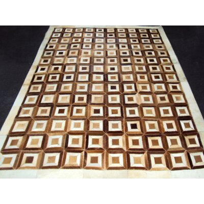 Patchwork Box Brown Area Rug Rug Size: Rectangle 53 x 7