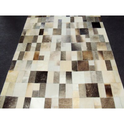 Patchwork Disruption II Neutral Area Rug Rug Size: 5 x 8