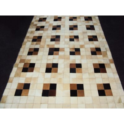 Patchwork Neutral Box Area Rug Rug Size: 46 x 66