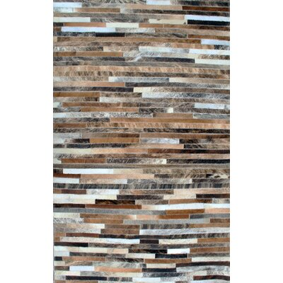 Patchwork Stripe Brown Area Rug Rug Size: Rectangle 4 x 6