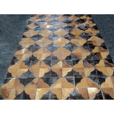 Patchwork Leather Geo Brown Area Rug Rug Size: Square 4