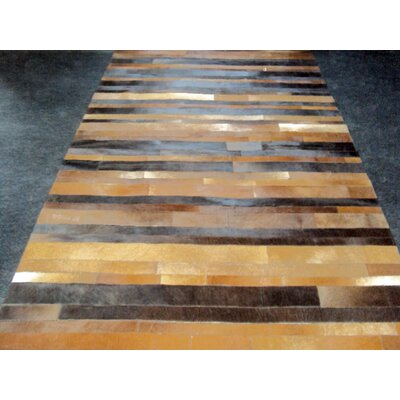 Patchwork Leather Stripe Brown Area Rug Rug Size: Square 4
