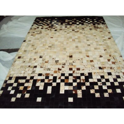 Patchwork Static Spectrum Beige/BlackArea Rug Rug Size: Square 6