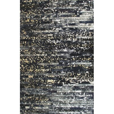 Patchwork Galaxy Stripe Black Area Rug Rug Size: 5 x 8