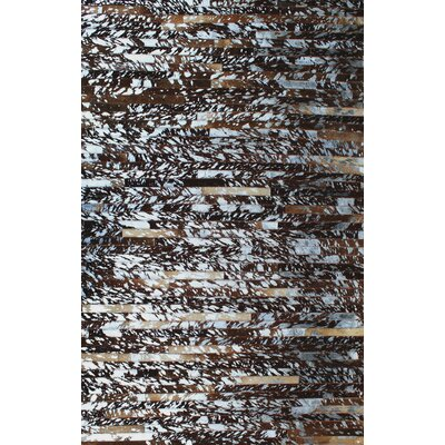 Patchwork Natural Stripe Brown Area Rug Rug Size: Square 4