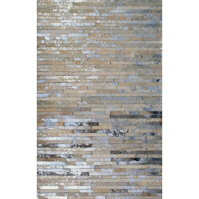Patchwork Stripe Faded Brown Area Rug Rug Size: Square 6