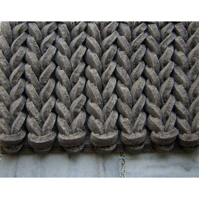 Braided Gray Area Rug Rug Size: Square 5