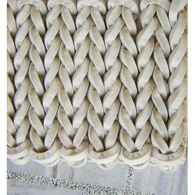 Braided White Area Rug Rug Size: Square 5