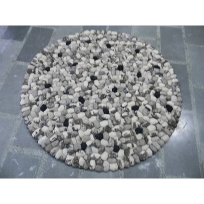 Pebbles White Area Rug Rug Size: Square 5