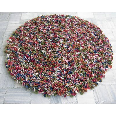 Enoki Multi-colored Felted Shag Area Rug Rug Size: Round 5
