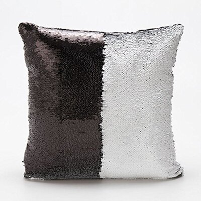 Mermaid Pillow Cover Color: Silver/Black