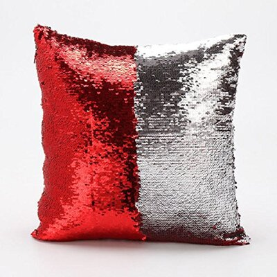 Mermaid Pillow Cover Color: Red/Silver