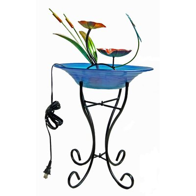 Image of Glass/Metal Decorative Fountain Bowl Stand Color: Blue