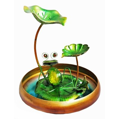 Image of Frog Glass/Metal Tabletop Fountain