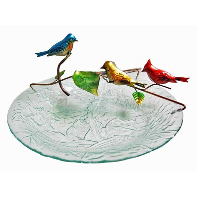 Image of Glass/Metal Bird Tabletop Fountain