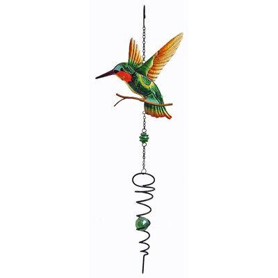Hummingbird Spinner Wind Chime Color: Green