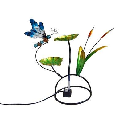 Image of Dragonfly Glass/Metal Tabletop Fountain
