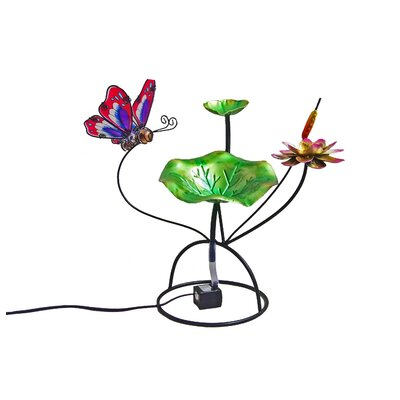 Image of Butterfly Glass/Metal Tabletop Fountain
