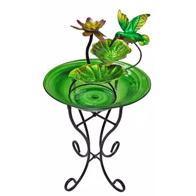Image of Glass/Metal Decorative Fountain Bowl Stand Color: Green
