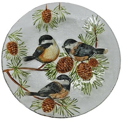 Chickadees Glass Plate