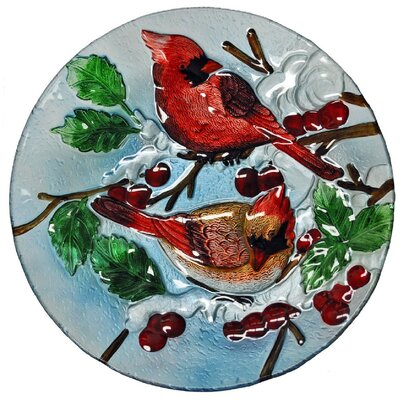 Two Cardinal Glass Plate