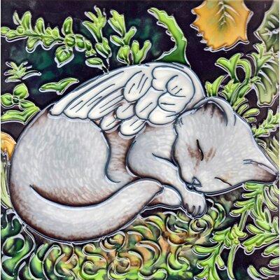 8 x 8 Ceramic Fairy Cat Decorative Mural Tile